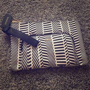 Bebe geometric gold 2 pocket clutch make-up bag